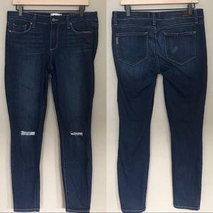 Paige Blue Denim Distressed Knee Skinny Jeans 31